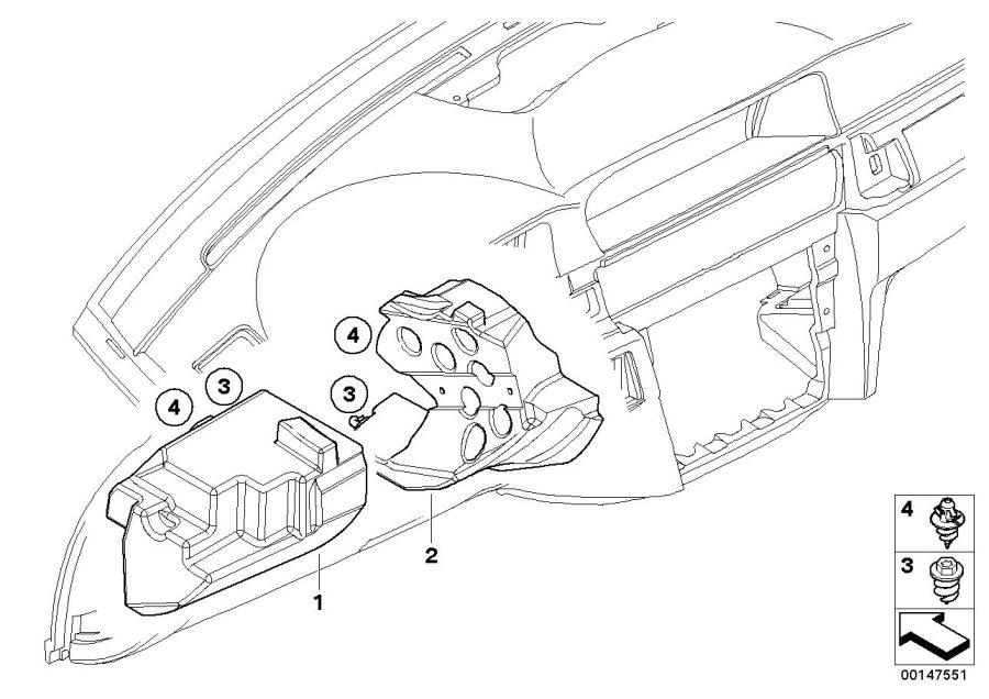 BMW 535i Foam pad screw. Trim, Electrical, Instrument