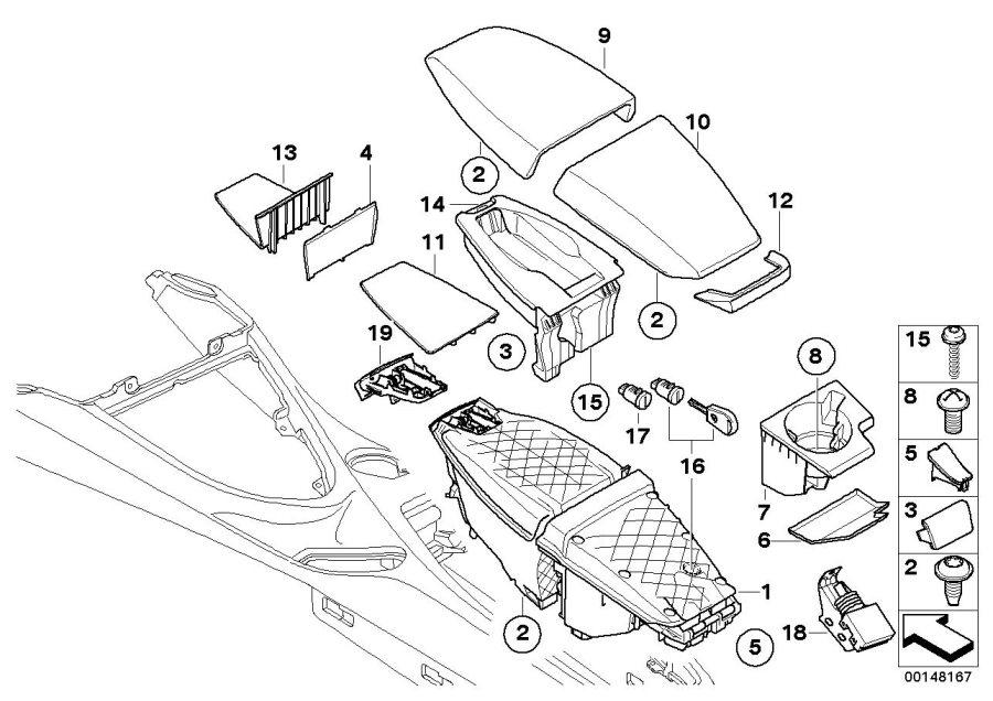 BMW M6 Carrier, center armrest. SCHWARZ. Yes, Leather