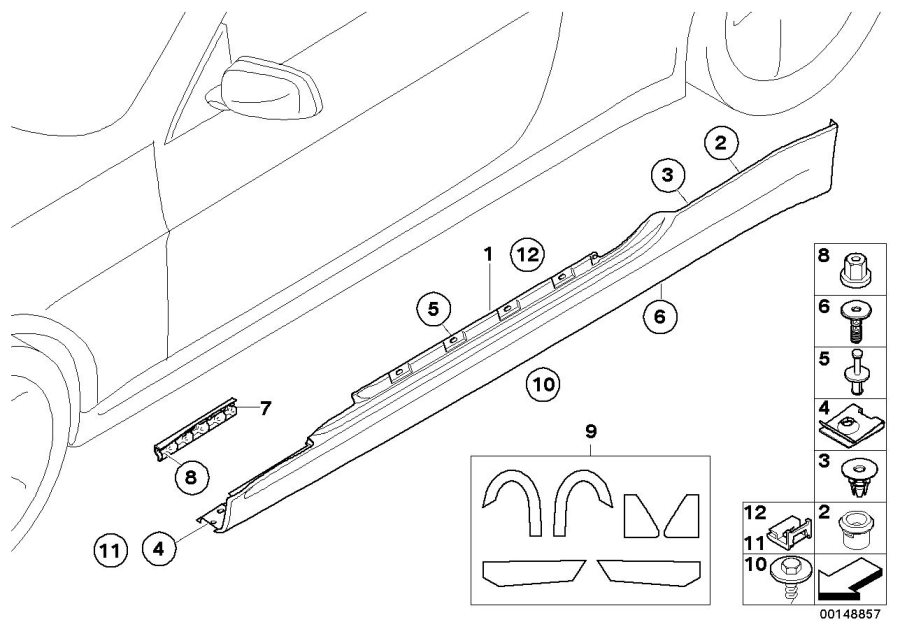 BMW 645Ci Door sill cover, primed right. Arch, Wheel, Trim