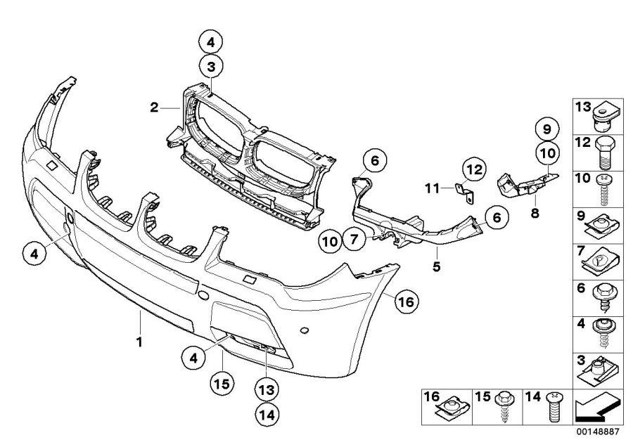 BMW X3 Bracket headlight right. M. Trim, front, exterior