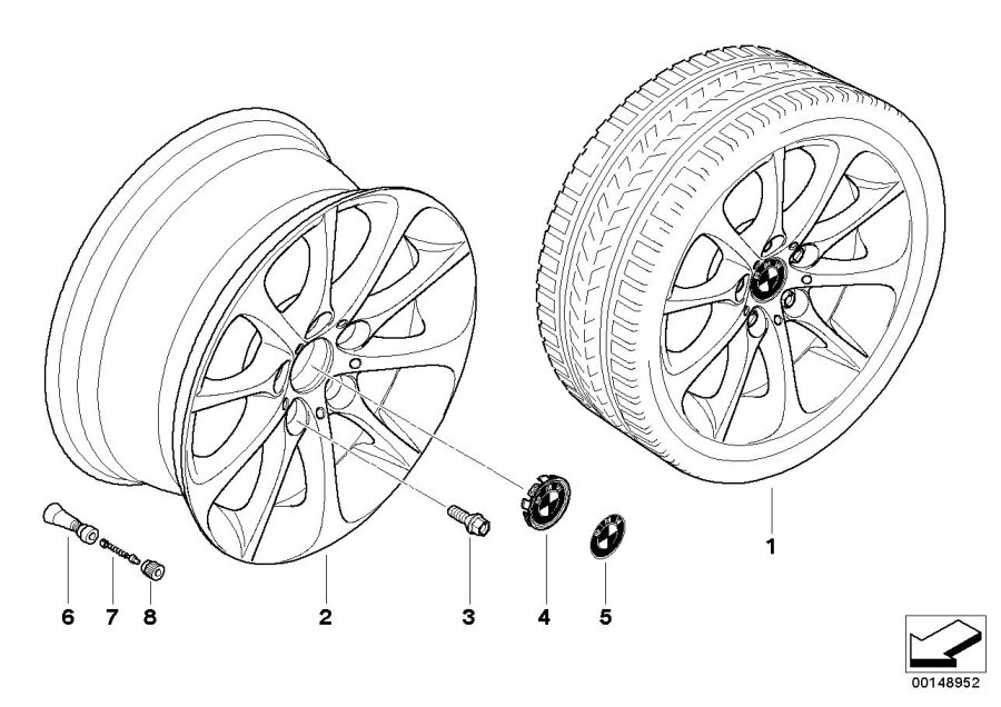 BMW Z4 Light alloy rim. 8JX17 ET:46. Wheels, Wheel