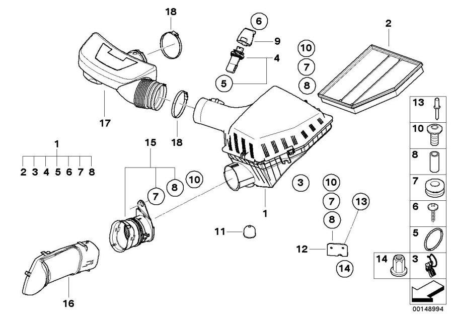 BMW 550i Bracket. Intake silencer. Filter, Cartridge, Fuel