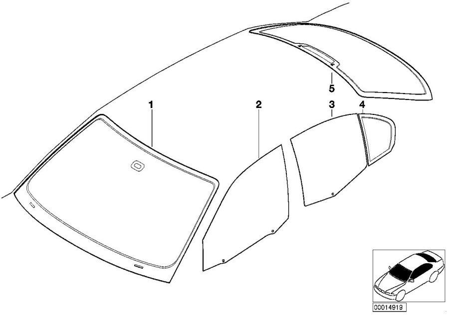 BMW 320i Green windscreen, rain sensor. Glazing, Trim