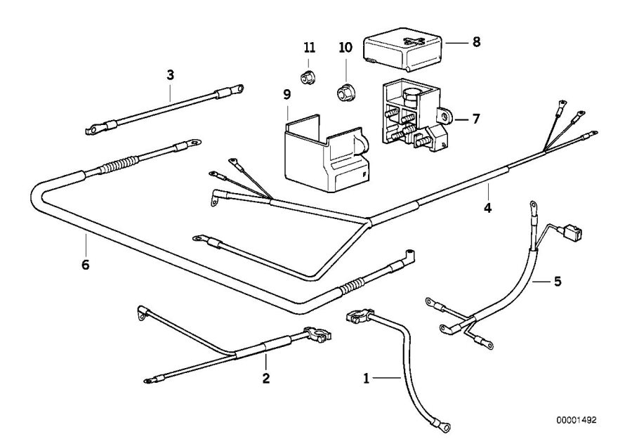 BMW 740i Cable alternator-starter-base b+. Battery, system