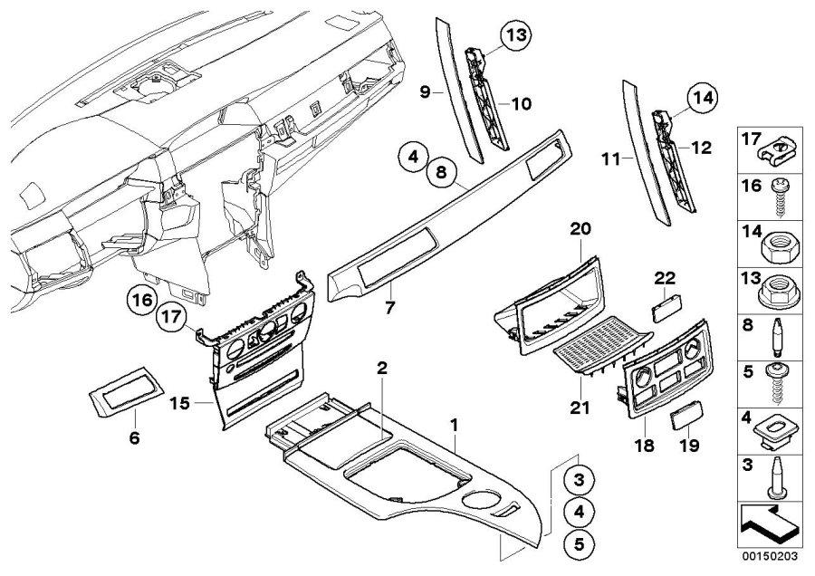 BMW 530xi Decor panel for centre console, aluminium