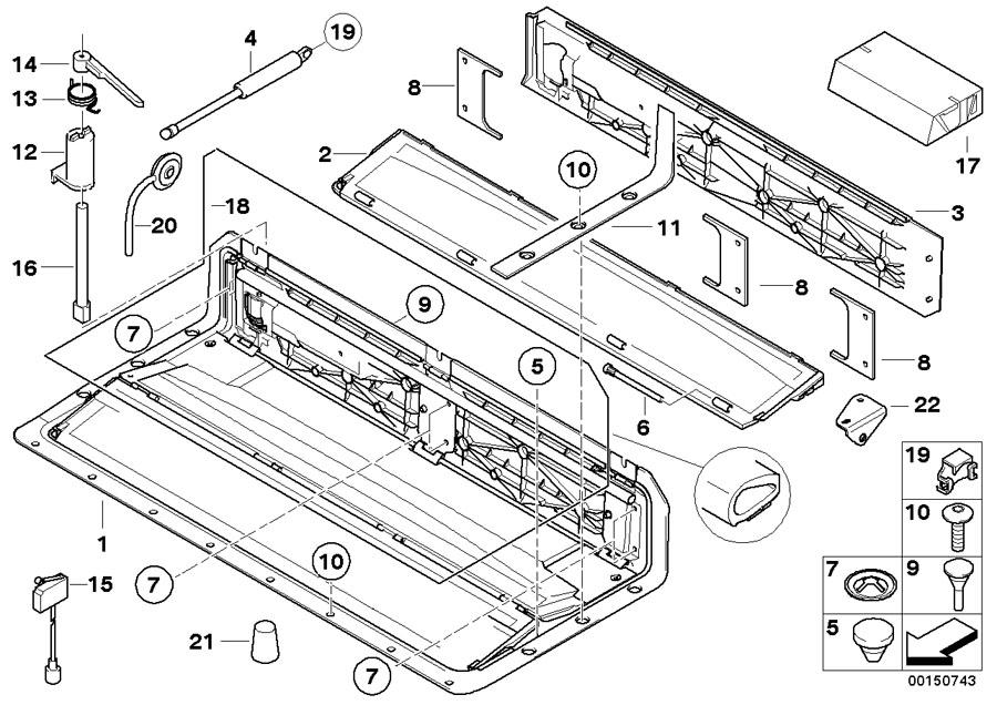 BMW 645Ci Axial securing clip. 20, 5X7, 6MM. Top, Folding