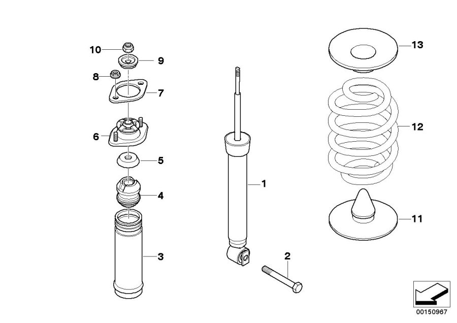 BMW 330Ci Guide support. Rear, Spring, Suspension
