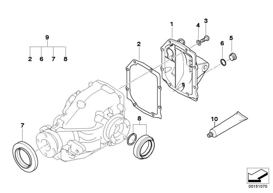 BMW 330Ci Transmission cover. TYP 188K. Drive, Repair