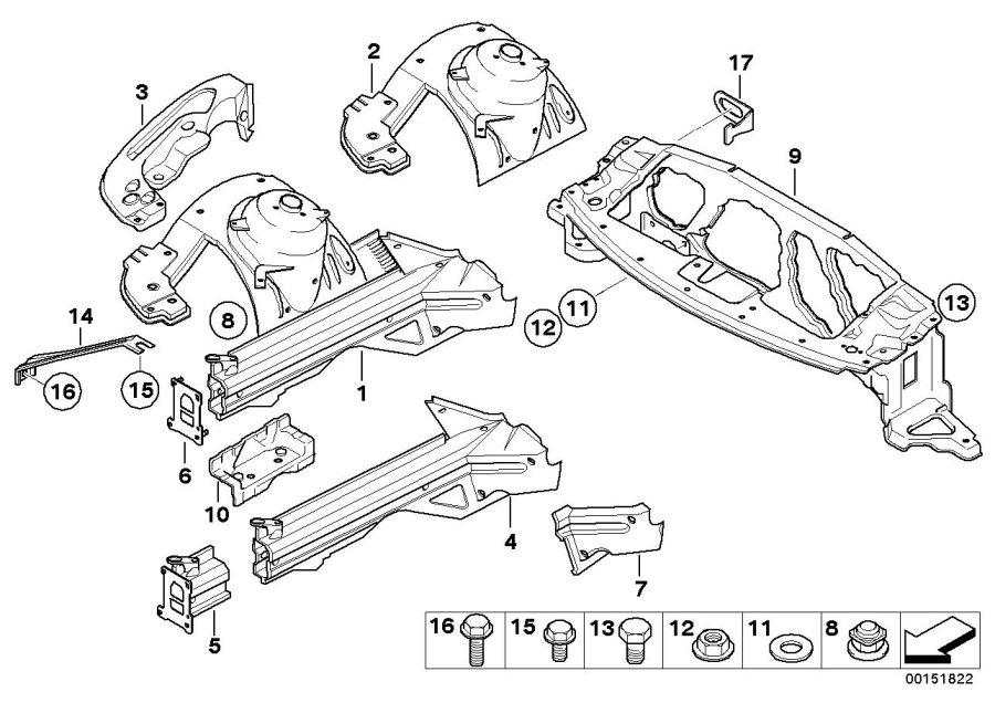 BMW Z4 Wheel housing strut, front right. Body