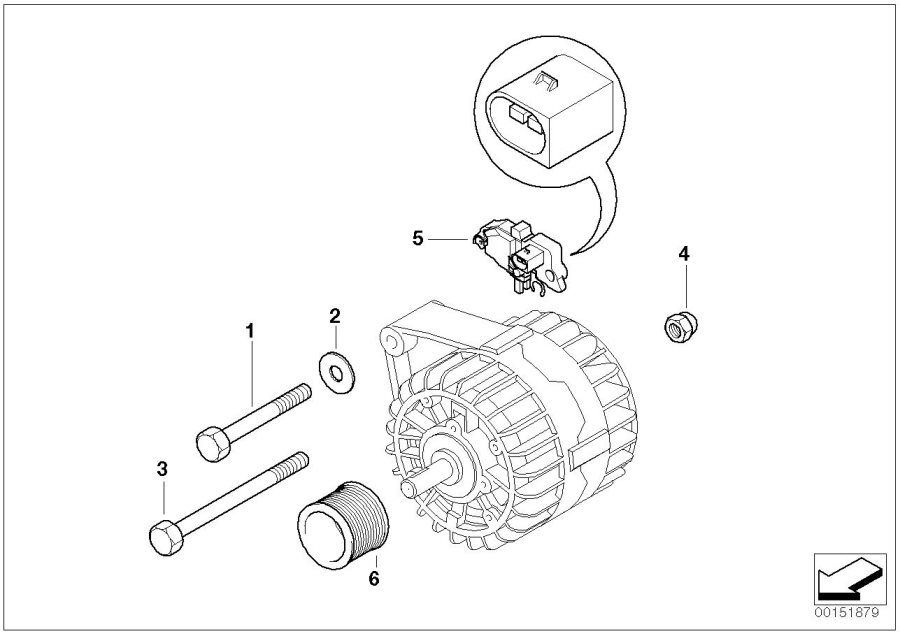BMW 530i Hex bolt. M10X150. ALTERNATOR, Valeo, Generator