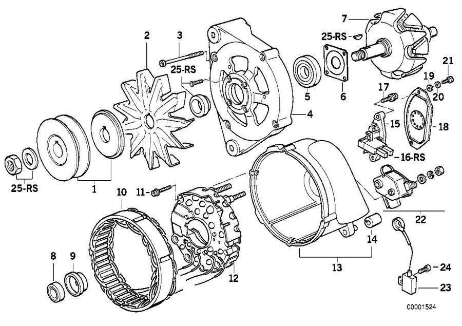 BMW M5 3.6 Fan wheel. Alternator, Individual, Generator