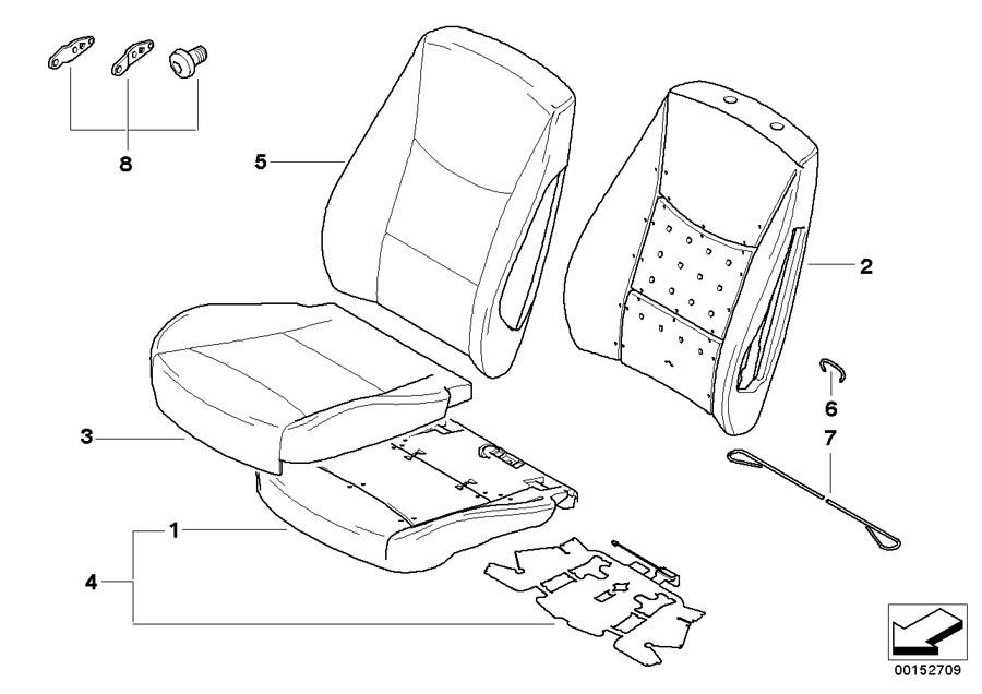 BMW 323i Seat cover, leather. SCHWARZ. Front, Trim