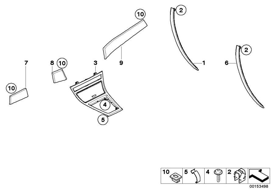 BMW X3 Trim, instrument panel, walnut, left. HELL. INNER