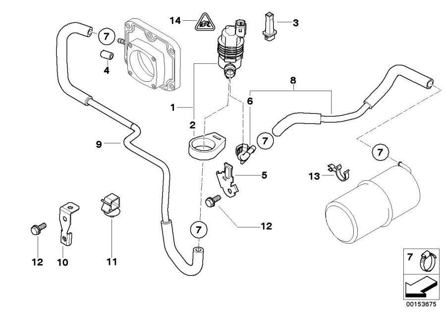 BMW X5 Bracket ventilation valve. Disturb, breather