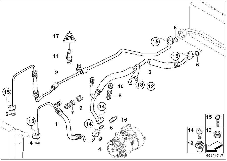 BMW 745i Pressure hose, condenser, evaporator. Coolant