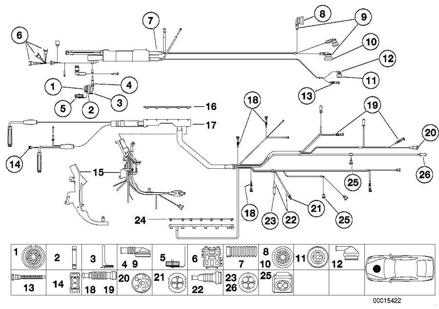 BMW Z3 Plug terminal eingine wiring harness. 25-POL