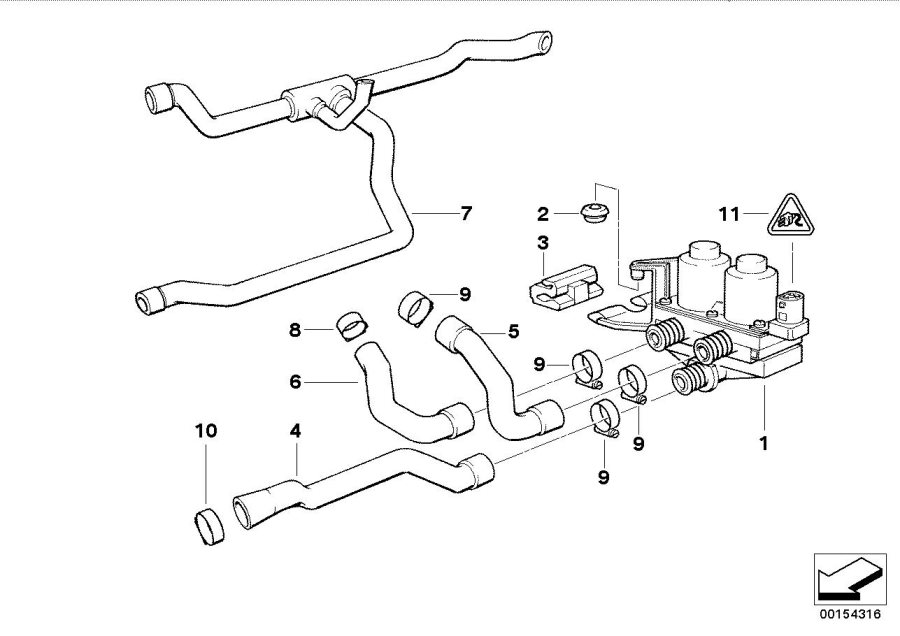 BMW 318ti Hose f engine inlet and water valve. Cooling