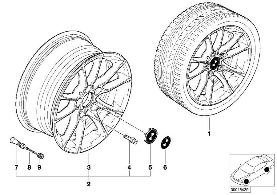 BMW 540iP Light alloy rim. 7JX16 ET:20. Wheels, Wheel