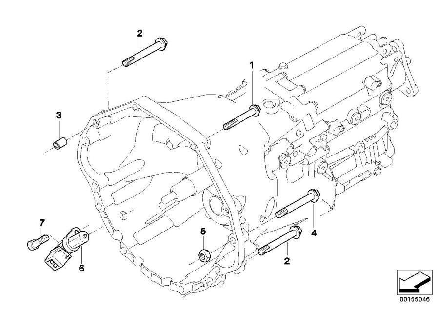 BMW 645Ci Crankshaft engine speed sensor. Mounting