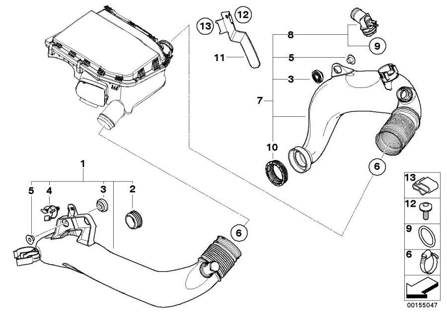 BMW 535i Air duct. Intake, Fuel, System, Silencer, Muffler