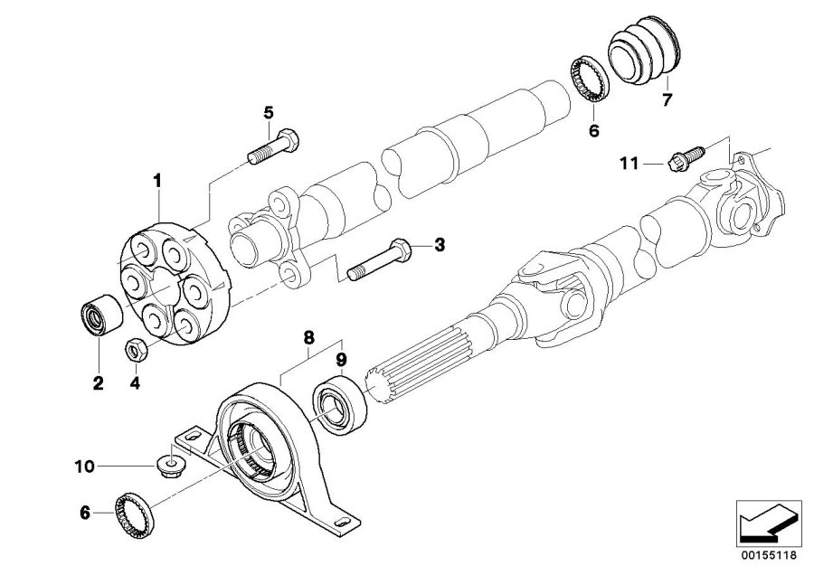 BMW X3 Universal joint, two-stage. LK=110MM/12. Shaft