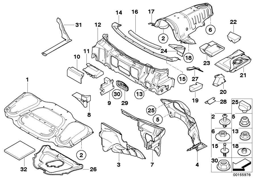 BMW 760Li Sound insulation f apron. L=1450x20mm. Alpina