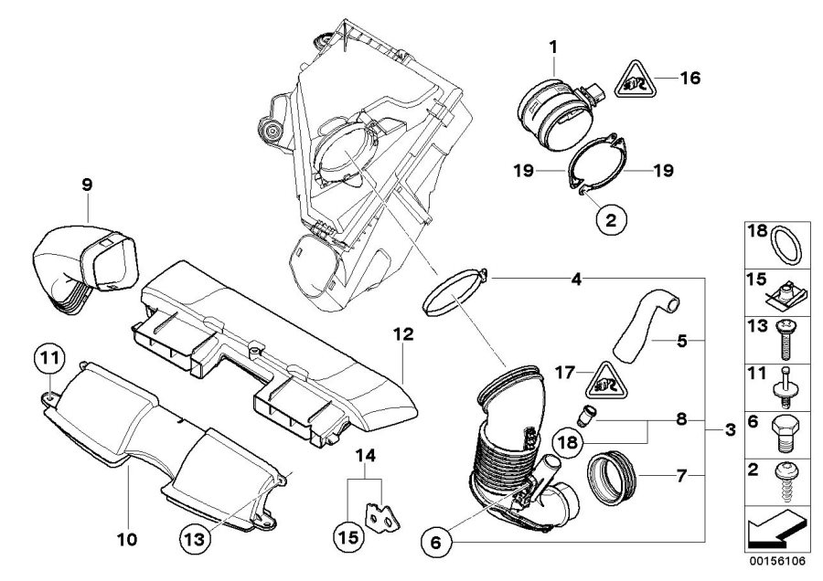 BMW 545i Plug housing. 5 POLIG. System, Fuel, Air