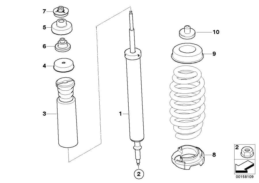 BMW 135i Guide support, upper part. Suspension, Rear
