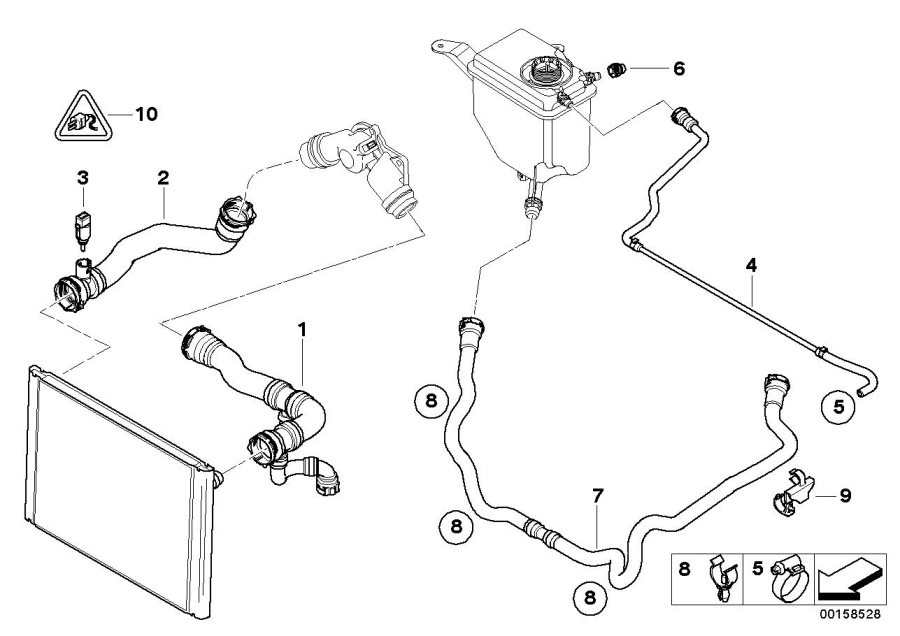 BMW 530i Return hose. Cooling, System, Hoses, Coolant
