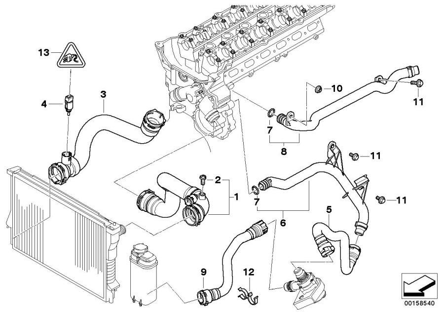 BMW X5 Temperature sensor, coolant. ALPINA, Cooling, Hoses