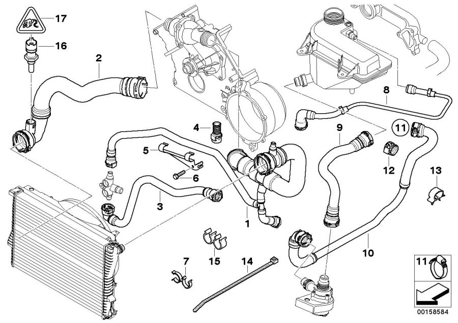 BMW X5 Temperature sensor, coolant. ALPINA, Hoses, Cooling