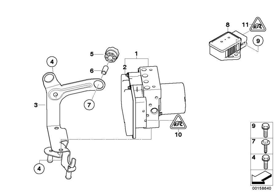 BMW 535i Repair kit, control unit DSC. Systems, Hydro