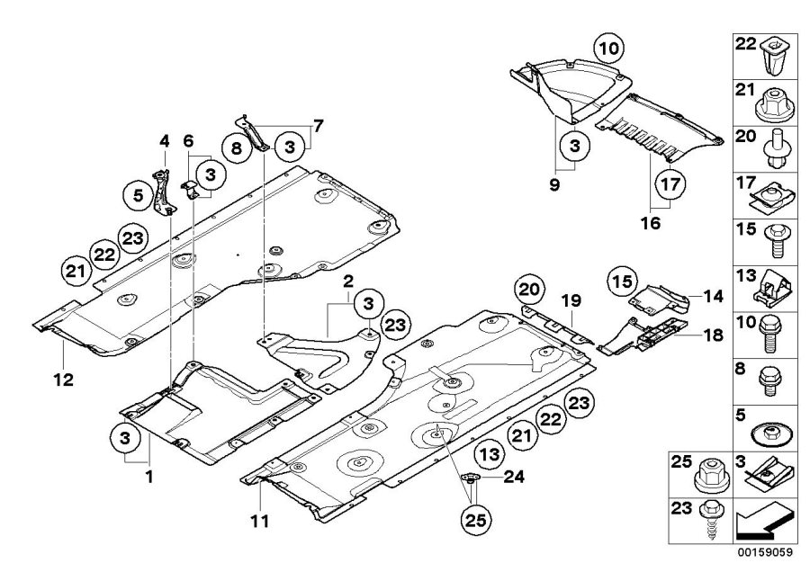 BMW 135i Lateral underbody shield, right. Door, Cover