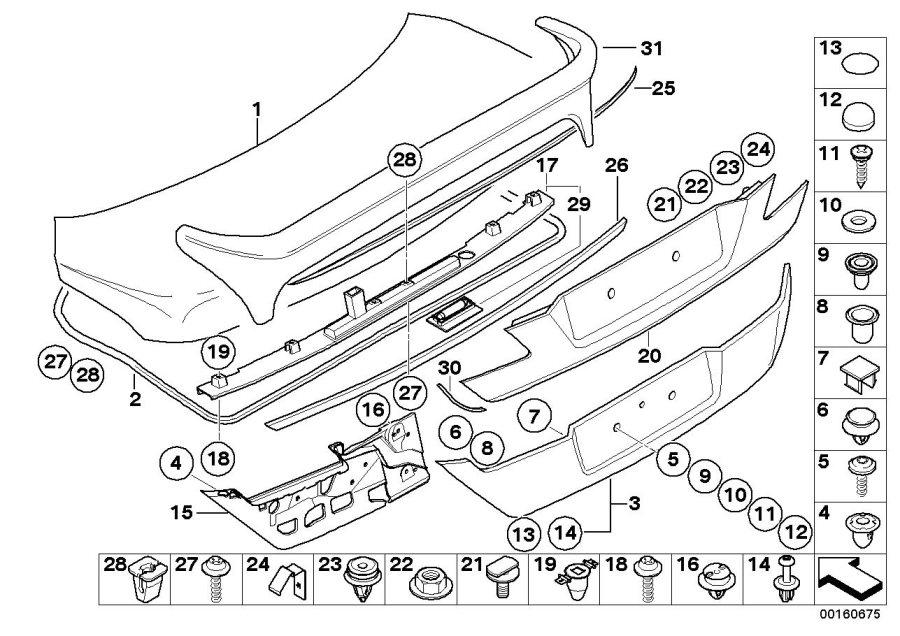 BMW 760Li Trim strip, boot lid/tailgate, primed. Trunk