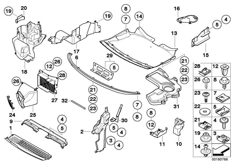 BMW 745i Deflector lip. Engine, COMPARTMENT, Shield