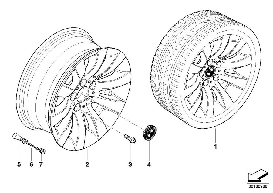 BMW 530i Light alloy rim. 71/2JX17 ET:20. Wheels, Wheel