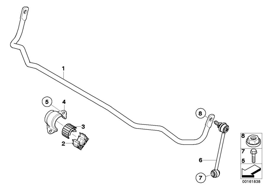 BMW M3 Rubber mount, stabiliser, upper section. Rear
