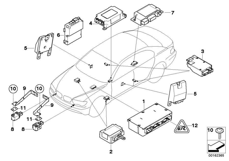 2003 BMW 745i Sensor, B-pillar right. Electric, Airbag