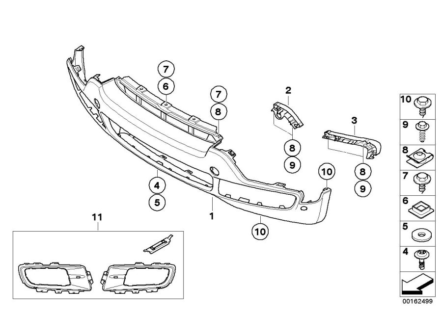 BMW X5 Locator, bumper, outer left. Front, Trim, Body