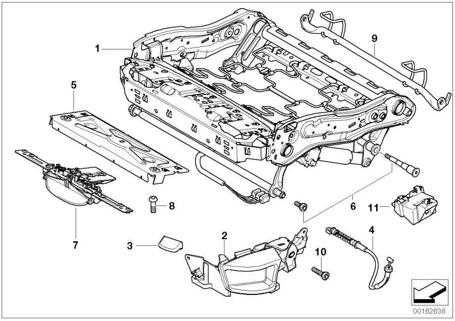 BMW 530xi Holder, heating module. Seat, Front, Trim, Frame