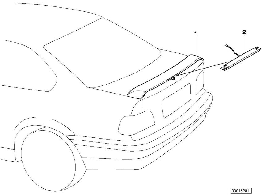 BMW 318i Stoplamp rear spoiler. Ersatzteil. Exterior
