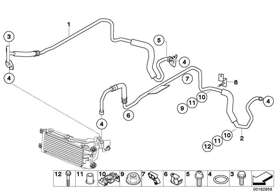 BMW M3 Transmission oil cooler line, flow. Radiator