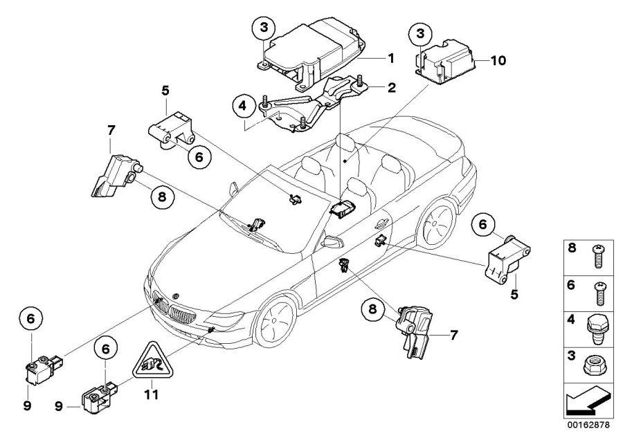 BMW 645Ci Bracket, control unit Airbag. Electric, System