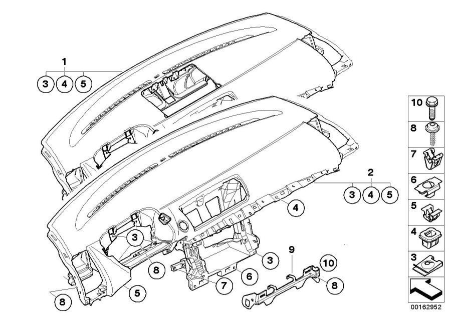 BMW 128i Bracket, instr.panel bottom. Instrument, Trim