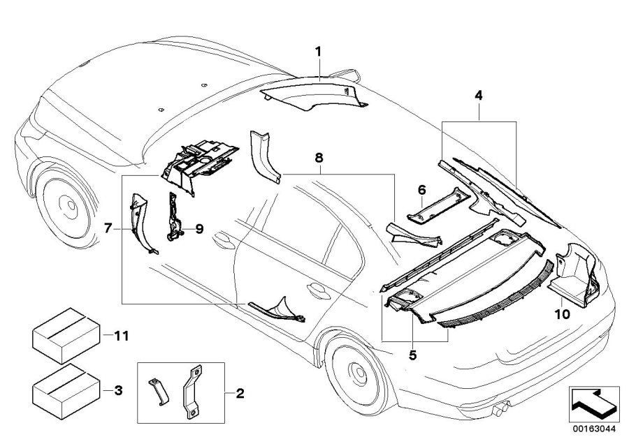 BMW 530i Set, trim panel, footwell, right. CREAMBEIGE