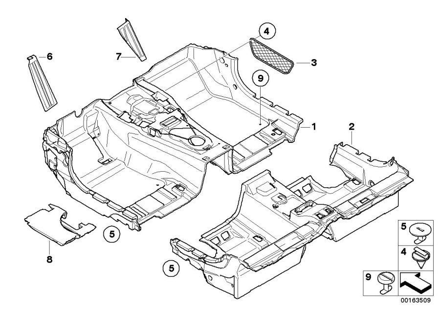 BMW 650i Storage net, footwell, front. CHATEAU. Equipment