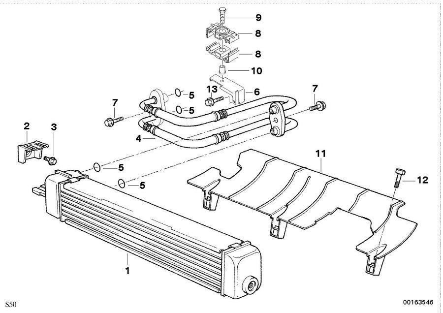 BMW Z3 Bracket oil pipe. Cooler, line, engine
