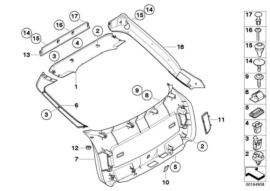BMW X6 Right panel tail lid. Himmelgrau. Trim