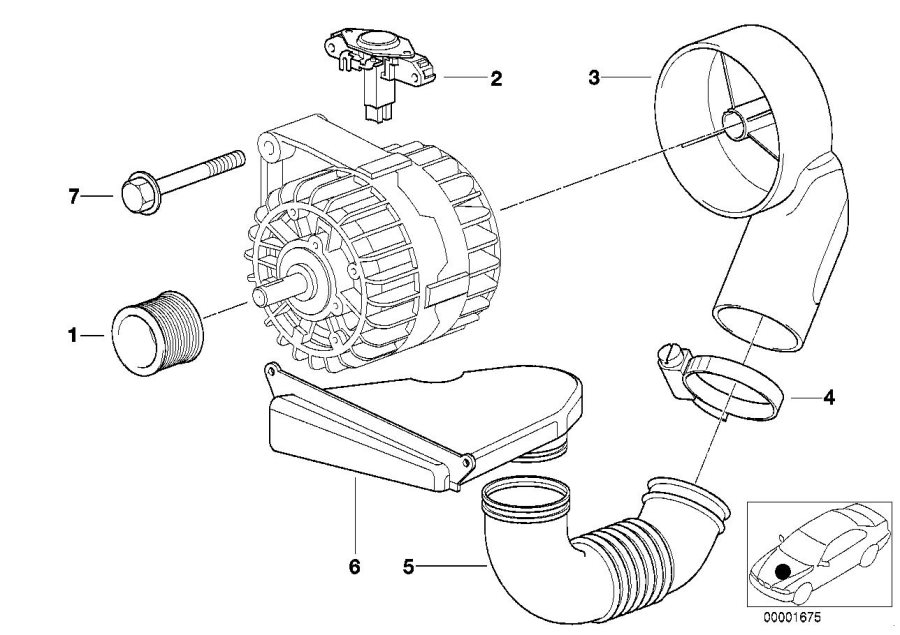 BMW 528i Voltage regulator. BOSCH. ALTERNATOR, Individual
