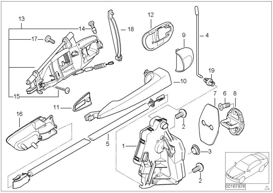 BMW 320i Carrier, outside door handle, front right. Body